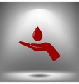 Hand and water drop icon vector image