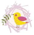 Little yellow bird Spring design vector image