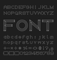 Outline Font Design Alphabet and Numbers vector image