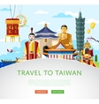 Taiwan travel concept with famous attractions vector image