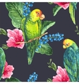 Watercolor Exotic Seamless Background with vector image