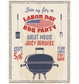 Vintage Labor Day barbecue party background vector image