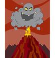 Cartoon Erupting Of Volcano With A Black Cloud vector image