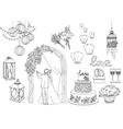 Big set of wedding decorative elements and vector image