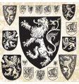 medieval shield set vector image vector image