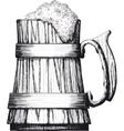 Wooden mug of beer vector image vector image