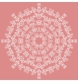Round white ornate pattern on pink background vector image