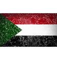Flags Sudan with broken glass texture vector image