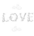 inscription love with decorative floral element vector image