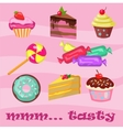 Collection of cupcakes croissants donuts sweets vector image