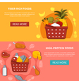 Food Supermarket Horizontal Banners vector image