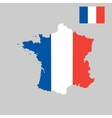 Map of France in French flag colors style vector image