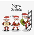 meryy christmas card three santa character vector image