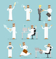 muslim businessman character isolated set vector image