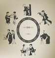 Set of characters in vintage party activities vector image