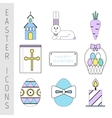 Set of Easter color flat icons Collection Easter vector image
