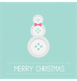 Snowman made from buttons and bow dash line vector image