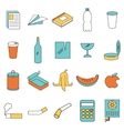 Set of line colour garbage signs vector image