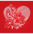 valentine card with heart and blossom branch vector image vector image