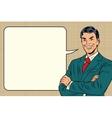 successful retro businessman comic bubble vector image vector image
