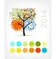 Calendar 2014 with four season tree for your vector image vector image