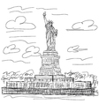 hand drawn of famous tourist destination statue of vector image