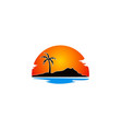 beach palm tree holiday landscape logo vector image