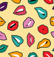 Color stitch patch seamless pattern with woman lip vector image