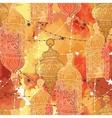 Festive hanging watercolor arabic lamps vector image