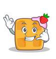 Okay waffle character cartoon design call me vector image