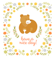 Cute little bear summer vector image