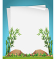 Paper design with bamboo in garden vector image