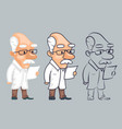 lineart scientist reading paper study character vector image