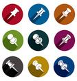 Push pins icons set simplistic symbols collection vector image