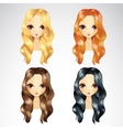Set Of Casual Wave Hair Styling vector image