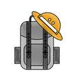 travel backpack safari and hat equipment vector image
