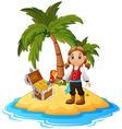 women Pirate in the treasure island vector image