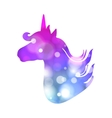 Colorful patch with unicorn silhouette bright vector image