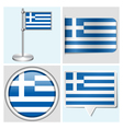 Greece flag - sticker button label and flagstaff vector image vector image