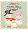 Snowman Family in Retro Christmas Background vector image vector image