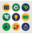 Soccer icon set Brazil summer world game Flat vector image vector image