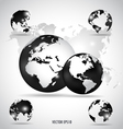 Modern globes and world map vector image vector image