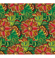Seamless pattern with Doodle flowers and leaves vector image