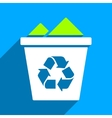 Full Recycle Bin Flat Square Icon with Long Shadow vector image