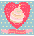 Birthday cake and lace heart vector image