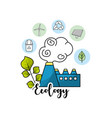 factory pollution with ecological plant and leaves vector image