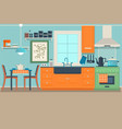 flat modern kitchen interior design with city view vector image