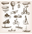 Vintage transport set sketch style vector image