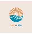 sun and sea icon vector image vector image