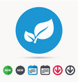 leaf icon fresh organic product sign vector image